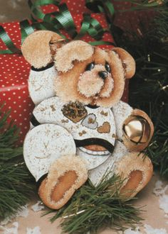 6 Jingle Bell Teddy ornament design by Debbie Mitchell - to paint 15737