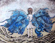 """Autor: Ana Arista, """"Niña del mar"""", técnica: grabado, fotografía y acuarela."""