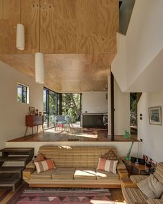 For some odd reason, I love drop down/sunken living spaces. Blackpool House sunken living room New Zealand by Glamuzina Paterson Architects. Blackpool, Home Interior Design, Interior Architecture, Interior Colors, Interior Livingroom, Interior Plants, Ancient Architecture, Sustainable Architecture, Residential Architecture