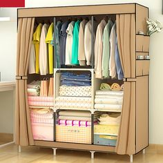 Top Selling Non-Woven Wardrobe Closet Home Storage Closet Wardrobe Lightweight Bedroom Furniture Wardrobe & Nonwoven Wardrobes Portable Simple Closet Dustproof Storage Cloth ...
