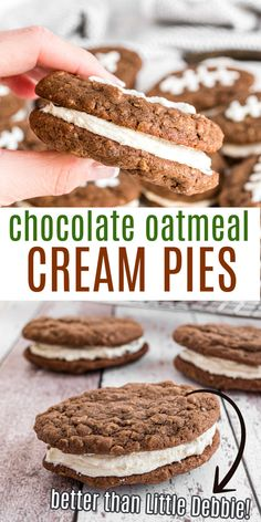 Soft and chewy Chocolate Oatmeal Cream Pies! You'll love this easy lunchbox treat. Similar to the classic, but CHOCOLATE flavored! Best Dessert Recipes, Sweets Recipes, Easter Recipes, Cookie Recipes, Delicious Desserts, Baking Recipes, Chocolate Oatmeal, Chocolate Flavors, Chocolate Desserts