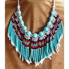 Native American style fringed beaded necklace in turquoise and silver (78 CAD) ❤ liked on Polyvore