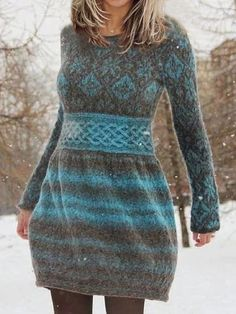 Style Hot F/W - shopingnova Daytime Dresses, Casual Dresses, Fashion Dresses, Knit Sweater Dress, Long Sleeve Sweater, Long Sleeve Vintage Dresses, Fashion Prints, Types Of Sleeves, Dresses Online