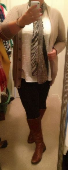 Plus size curves style ootd what I wore ootd fashion leopard wide calf boots DSW leggings blouse and cardigan from Old Navy