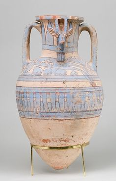 Ancient Peoples - Blue Painted Ibex Amphora from Malqata  18th Dynasty, New Kingdom  c.1390-1353 BC