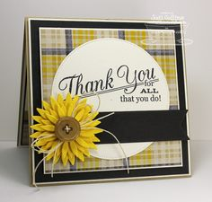 Card flower MFT sunflower Die-namics  plaid builder  Thank You For All That You Do {MFTWSC136}! #mftstamps