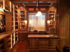 Woodworking portfolio gallery of various projects built by Jim Cardon Customs. Including, bookshelves, kitchen cabinets, entertainment centers, home office Study Office, Home Office, Wood Shelves, Shelving, Wall Storage, Storage Ideas, Classic Living Room, Home Again, Custom Woodworking