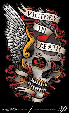 Winged Skull Tattoo T-Shirt Design by Sam-Phillips-NZ