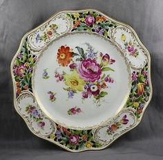"""Dresden Porcelain Hand Painted Carl Thieme Reticulated Dinner Cabinet Plate 10"""""""