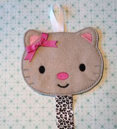 Embroidered Kitty Hair Bow Holder /Barrette Holder/ Clippie Keeper/ Hair clip Organizer- Pink and Gray Leopard