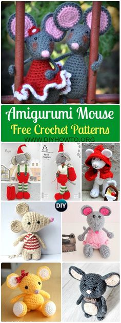 Collection of Amigurumi Crochet Mouse Toy Softies Free Patterns: Crochet Ballerina Mouse, Forest Mouse, Tiny Little Mouse, Minnie Mouse, Kids Toy