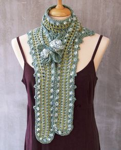 Ice Rose Hand crocheted Freeform Scarf Capelet pastel by HEraMade