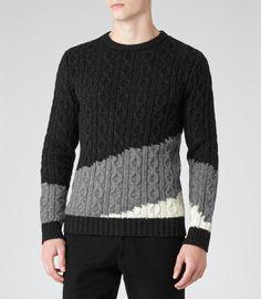 Mens Grey Tonal Cable Knit Jumper - Reiss Rivers