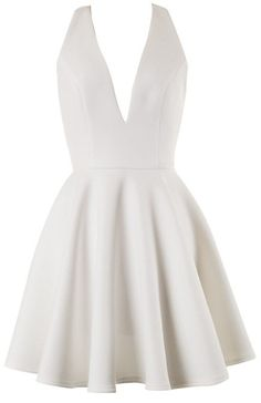 WHITE V NECK FRONT AND OPEN BACK SKATER DRESS #ustrendy www.ustrendy.com