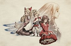 """Oh, I love this! The colors blend in so perfectly with the color from the background! It's so gorgeous! It would be fit for an art exhibition or something! I'd call it: """"A Princess Through Ages"""" or """"A Goddess Through Ages"""".>>>i just think it looks like the Bravely Default artstyle"""