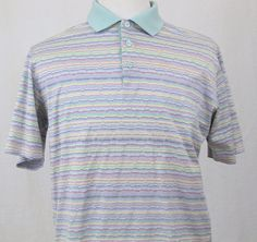 Bugatchi Uomo Shirt Medium Golf Polo 100% Cotton Argyle Striped Short Sleeves #BugatchiUomo #PoloRugby