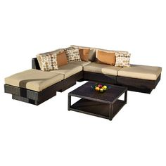 Enjoy an afternoon on the patio or relax poolside with this indoor/outdoor modular sectional sofa, featuring an espresso hue and 6 complementing throw pillow...