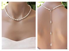 Pearl Back Drop Necklace Bridal Backdrop Pearl Necklace Bridesmaids Necklace SILVER, Gold, Rose Gold options Wedding Necklace