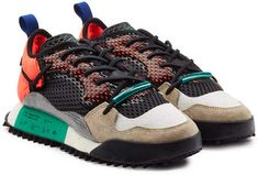 Styled with layered mesh and futuristic neoprene, these multicolored 'Reissue Run' sneakers from adidas Originals by Alexander Wang are the ultimate in contemporary urban footwear. Adidas Fashion, Sneakers Fashion, Fashion Shoes, Mens Fashion, Dr. Martens, Retro Sneakers, Sneaker Brands, Running Sneakers, Black Leather Boots