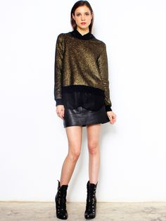Vanessa Bruno Athe Metallic Gold Knit Jumper in stock now at La Boutique l'Art et la Mode 414 Jackson St STE 101 San Francisco, Ca 94111 11/16/13