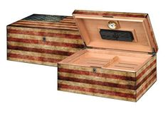 """Quality Importers Humidor Supreme """"Old Glory"""" Weathered American Flag Exterior"""