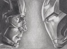original pencil ACEO sketch card. Captain America vs Iron Man