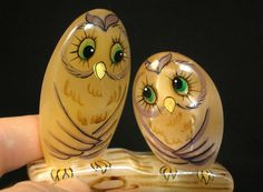 #Selenite #figurine #Two #owls on a #log #hand #painted on #natural #stone #statue #birds