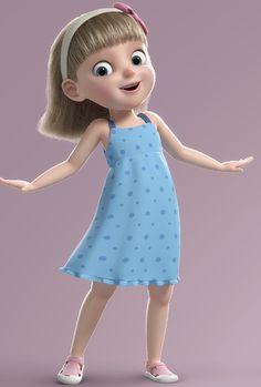 3D cartoon girl rigged - TurboSquid 1317956