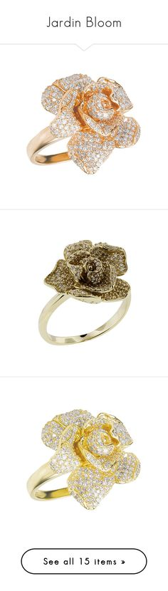 """""""Jardin Bloom"""" by mari-sv ❤ liked on Polyvore featuring jewelry, rings, rose gold rings, 14k diamond ring, 14k rose gold jewelry, 14 karat gold ring, rose gold flower ring, gold diamond jewelry, 14 karat gold jewelry and 14k yellow gold ring"""