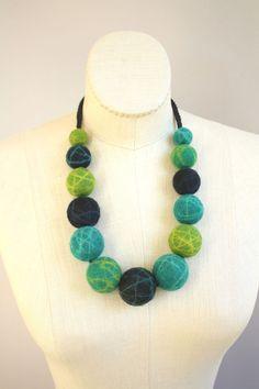 Felted Big Baller Necklace - Teal/Green/Black. $54.00, via Etsy.
