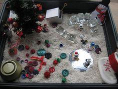 christmas sensory tub (I like the glass blocks for a winter theme sensory bin)