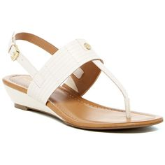 Tommy Hilfiger Moe Sandal ($55) ❤ liked on Polyvore featuring shoes, sandals, chic cream, cream sandals, slingback shoes, wedges shoes, ankle wrap wedge sandals and mid heel wedge sandals