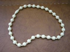 Vintage white lucite beaded necklace from 60s by badgestuff, $6.00