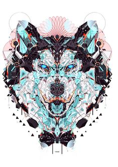 """French graphic designer and illustrator YoAz has created """"Electro Animals,"""" a collection of colorful animal illustrations made of geometric, electric Wolf Illustration, Digital Illustration, Graphic Illustration, Doodles Zentangles, Image Digital, Digital Art, Hippie Style, Der Steppenwolf, Animal 2"""