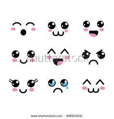 stock-vector-kawaii-faces-eyes-icon-596815031.jpg (450×470)