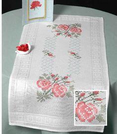 cross stitch rose tablecloth