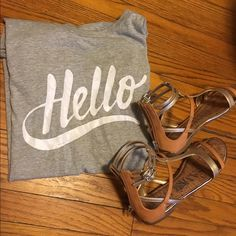 "J.Crew Graphic Tee Short sleeve heather grey tee. ""hello"" in white print on front. Crew neck, hits top of thigh and worn minimally. Fits slightly small J. Crew Tops Tees - Short Sleeve"