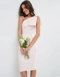Image 1 ofASOS WEDDING One Shoulder Structured Bow Dress