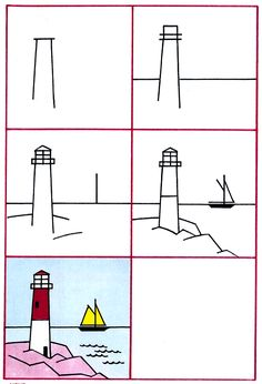 How to draw a light house step-by-step (kids, art lesson)
