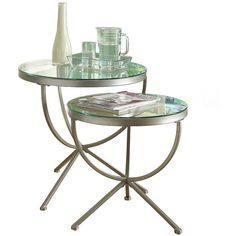 Silver Round Nesting Tables, Set of 2 ($140) ❤ liked on Polyvore featuring home, furniture, tables, accent tables, round nesting tables, top table, round table set, round furniture and round table