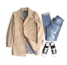 존클락 남자 트렌치코트 자켓, 찢어진청바지,컨버스화,봄코디,데일리룩,coat,jean