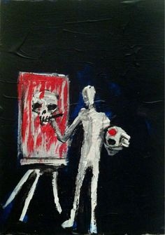 """DEATH ARTIST""  abstract,   original art,ACEO  jack larson 3.5""x2.5"" #Abstract"