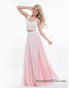 Rachel Allan 6832 Long White Pink Two Piece Dress