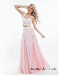 Rachel Allan 6832 Long White Pink Two Piece Dress. Two piece prom dress are so in this year & I just love them