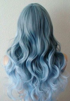 Items similar to Pastel Blue Ombre wig. long curly blue wig with side bangs. on Etsy Curly Blue Hair, Curly Hair Styles, Blue Wig, Baby Blue Hair, Blonde Hair, Pastel Blue Hair, Emo Hair, Green Hair, Purple Hair