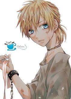 Render Vocaloid - Renders Len Kagamine prisonnier sale ruban menotte yeux bleu blond chaine