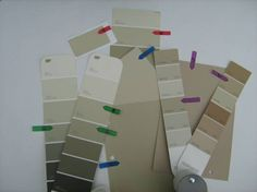 Here are 10 beautiful beige paint colors that could look great on your walls…Benjamin Moore Paint…(purple arrows) 1. Bennington Gray (it's not gray), 2. Lenox Tan, 3. Kangaroo (Affinity).  Behr Paint…(green arrows)  4. Oat Straw,  5. Mochachino, 6. Clay Pebble.  Dunn Edwards Paint… (blue arrows)  7. Bungalow Taupe,  8. Cochise.  Olympic Paint… ( red arrows)  9. Soft Suede,  10. Classic Khaki