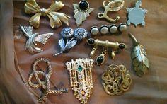 Vintage brooch mixed lot 12 silver tone & gold tone pins