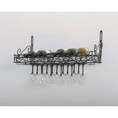 Sturdy metal wine rack offers easy storage and display of 8 bottles and 21 wine glassesWine rack makes a perfect addition to any kitchen or dining roomWine storage system mounts easily to the wall in order to maximize available space