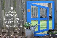 How to make an optical illusion garden mirror for a really cool effect in your yard. This inexpensive project can be made with thrift shop materials.
